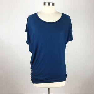 Athleta Navy Blue Threadlight Asymmetrical Top